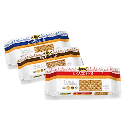 The,Italian,brand,CRICH,through,careful,selection,raw,materials,combining,tradition,and,innovation,develop,wide,range,high,quality,natural,products,which,include,crackers,wafers,and,biscuits,organic.,None,these,contain,genetically,modified,organisms,(GMO),dyes,additives,preservatives. Among,their,selection,are,authentic,CRACKERS,the,varieties,traditional,with,sparks,salt,and,INTEGRAL.